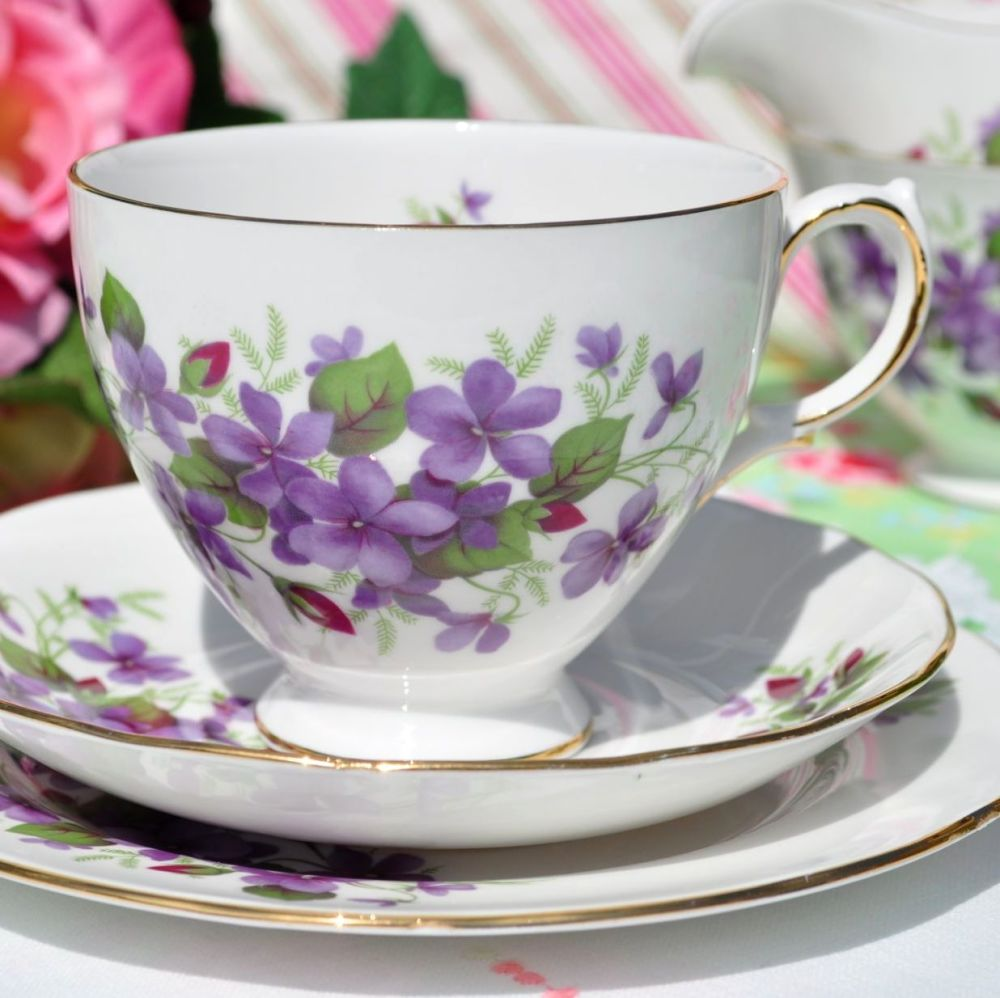 Queen Anne Violets and Rose Buds Vintage Teacup Trio