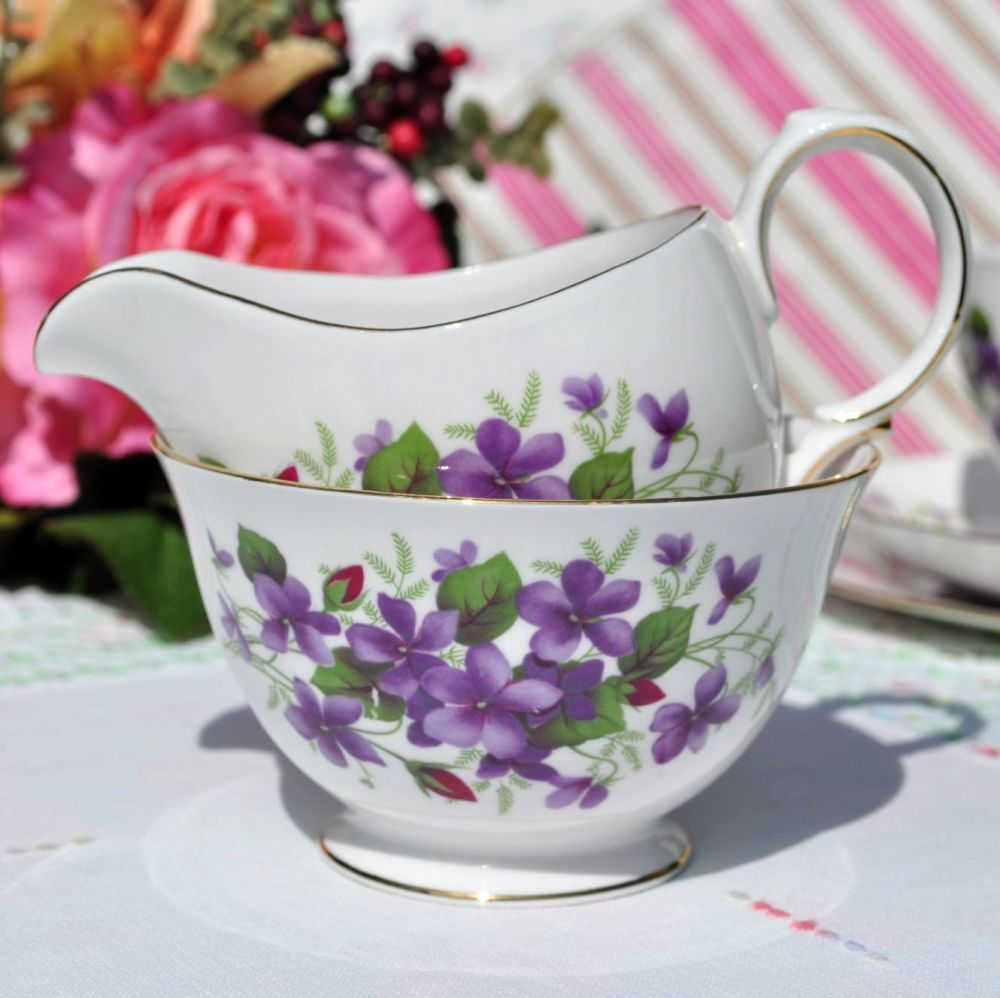 Queen Anne Violets and Rose Buds Vintage Milk Jug and Sugar Bowl