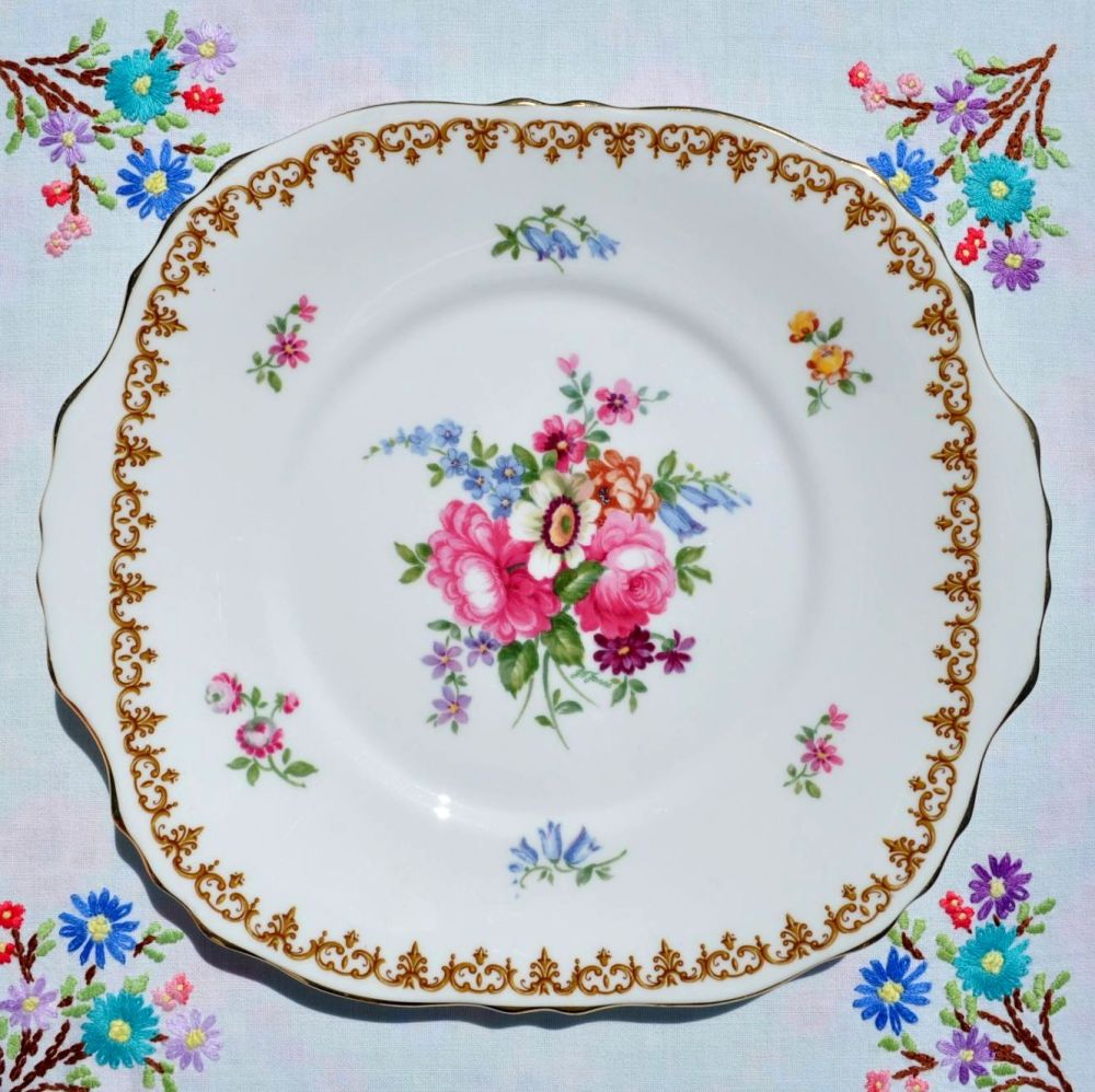 Crown Staffordshire England's Bouquet Cake Plate c.1930s