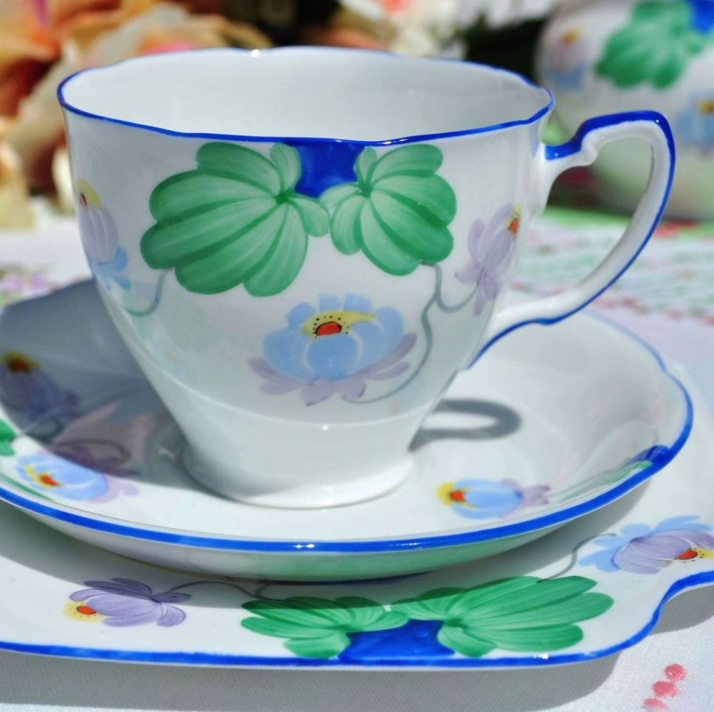 Grafton Art Deco Hand Painted Blue Rim Teacup Trio c.1935+