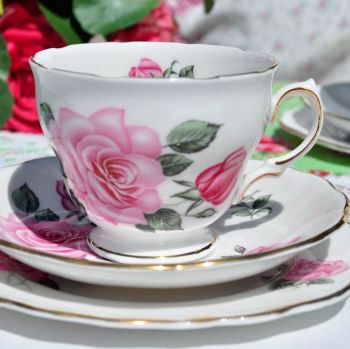 Royal Vale Pretty Pink Rose Teacup Trio