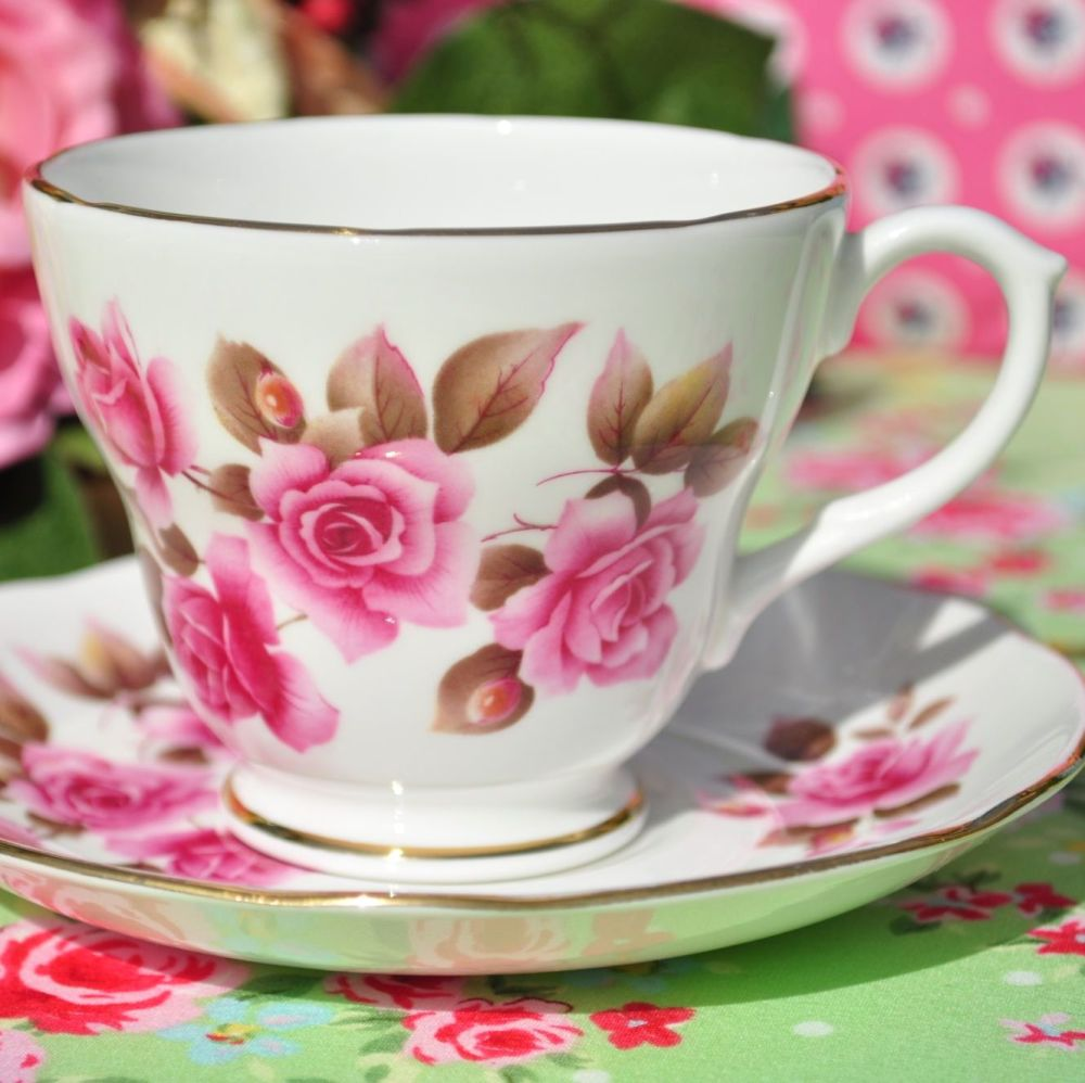 Duchess Pink Rose Vintage Teacup and Saucer