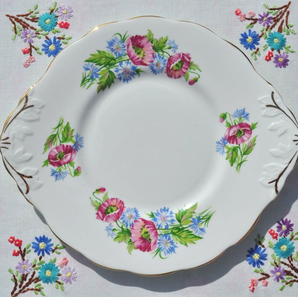 Sandringham Poppies and Cornflowers Cake Serving Plate c.1950s