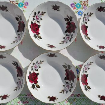 Colclough Red and White Roses Dessert Dishes Set