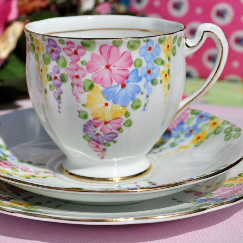 Royal Standard Hollyhock Vintage China Teacup Trio