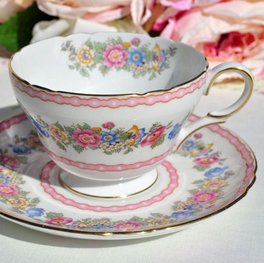 Shelley Pompadour Teacup and Saucer c.1940's