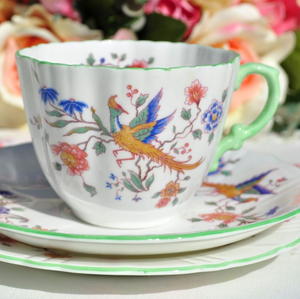 Hammersley Phoenix Green Rim Teacup Trio c.1950's