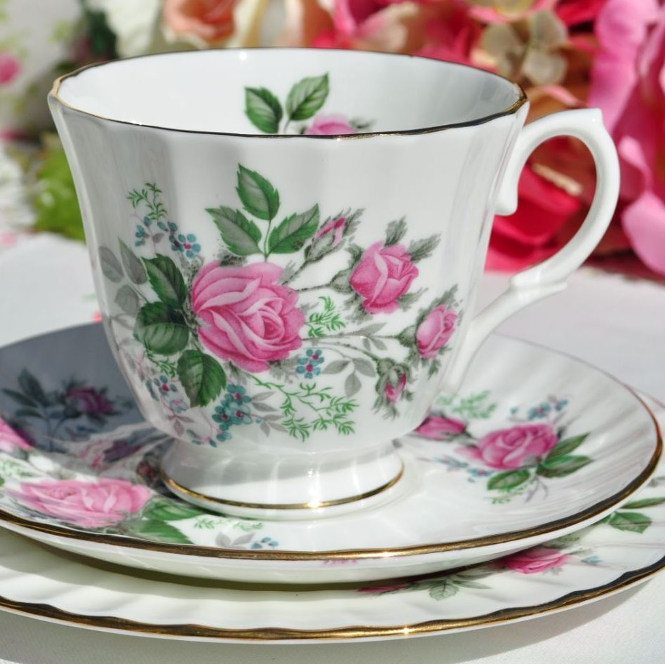 Duchess Pink Roses Fluted Teacup Trio c.1960's