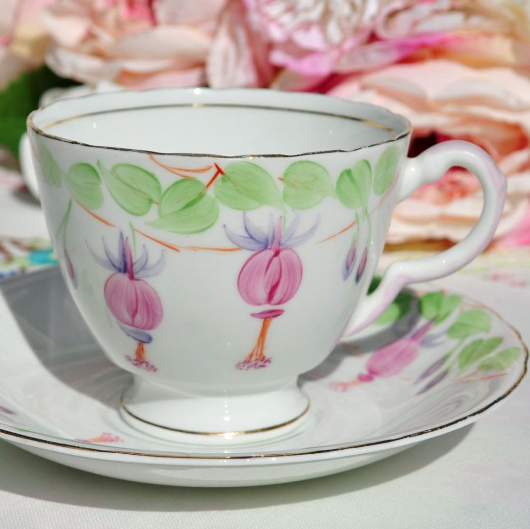 Hand Painted Fuchsia Teacup and Saucer c.1954-9