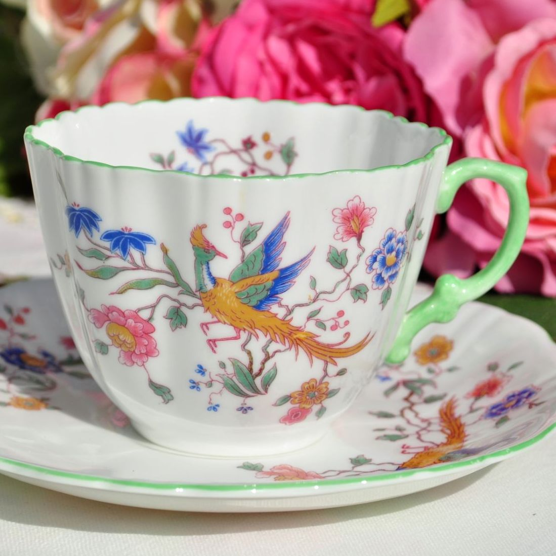 Hammersley Phoenix Green Rim Teacup and Saucer