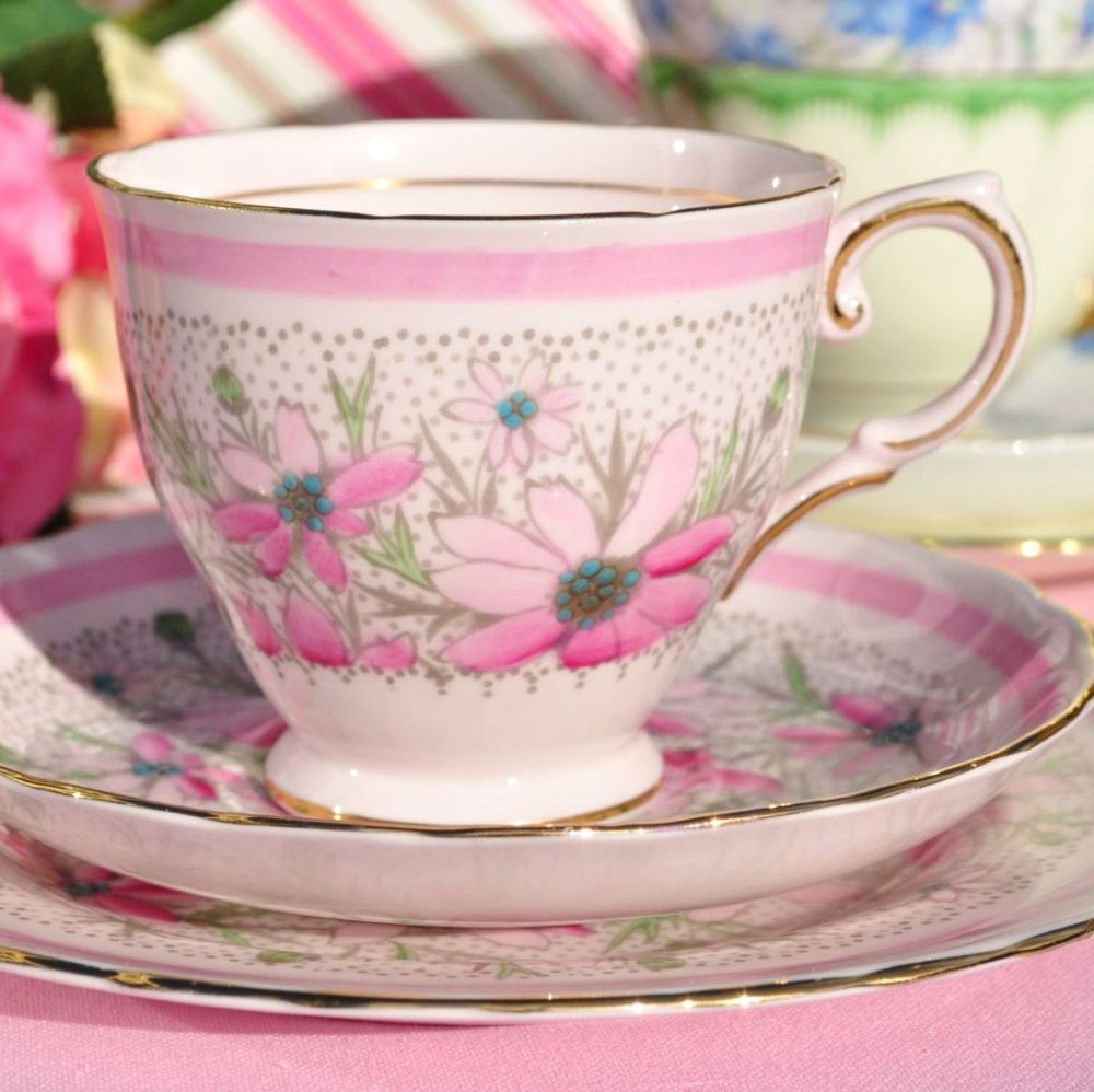 Tuscan Hand Painted Pink Cosmos Teacup Trio c.1940s