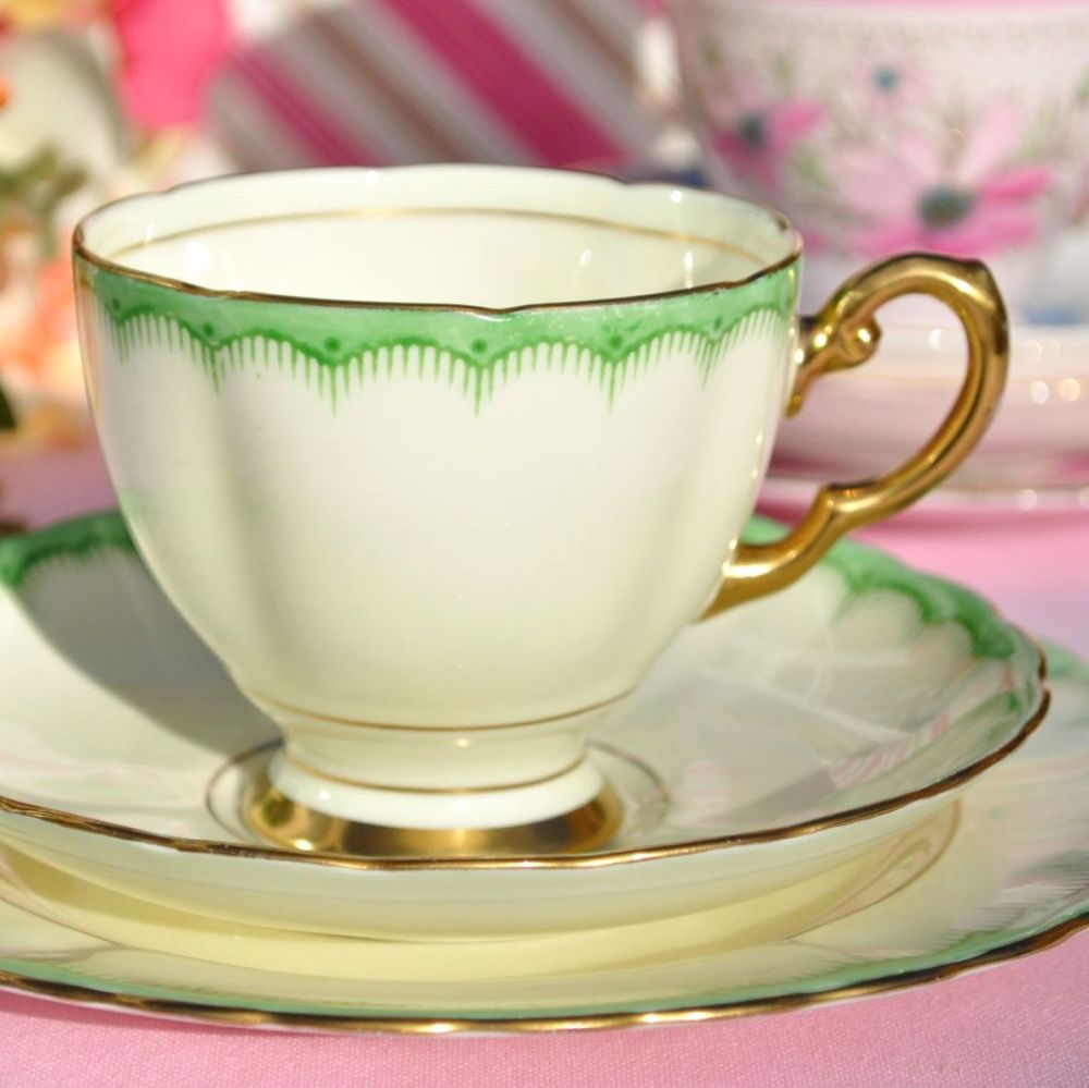 Tuscan Cream and Green Border 6146A Fine China Teacup Trio c.1936+