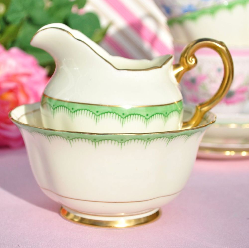 Tuscan Cream and Green Border 6146A Fine China Milk & Sugar Set c.1936+