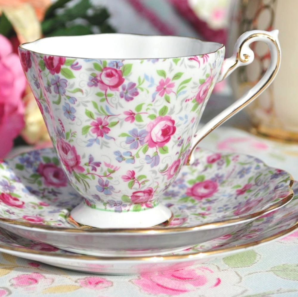 Royal Standard Chintz Fine Bone China Vintage Tea Trio