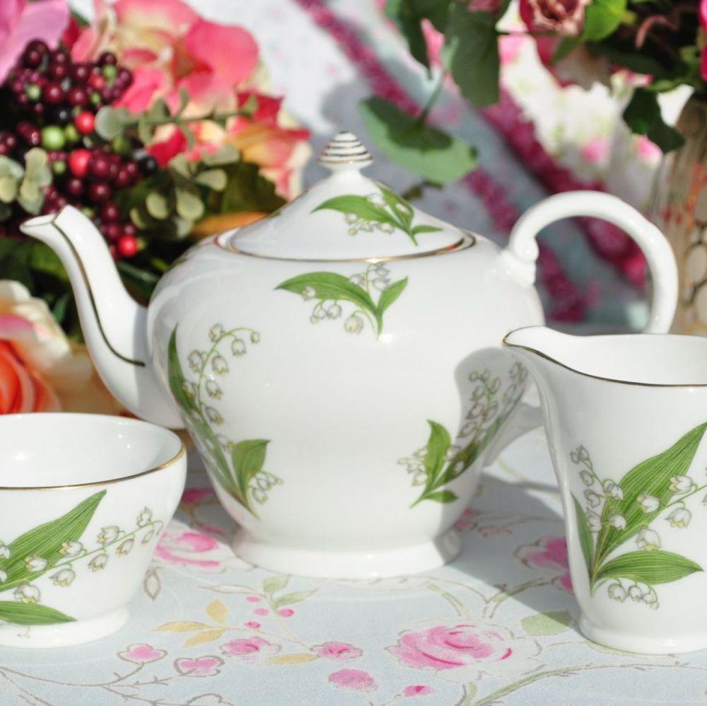 Royal Grafton Lily of the Valley Teapot, Milk & Sugar Set c.1950