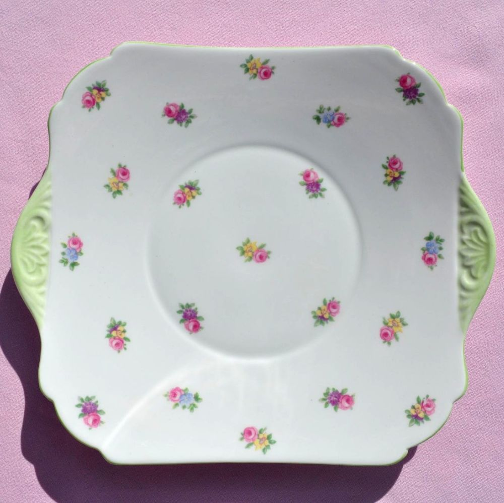 Shelley Ditsy Flowers Green Rim Vintage China Cake Plate c.1930s