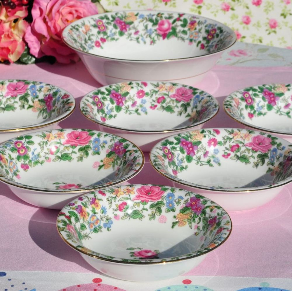 Crown Staffordshire Thousand Flowers Serving Bowl and Six Dessert Dishes