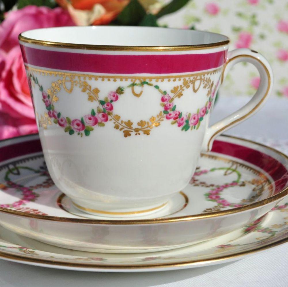 Coalport Antique Breakfast Tea Cup Trio with Rose Garlands c.1875-81