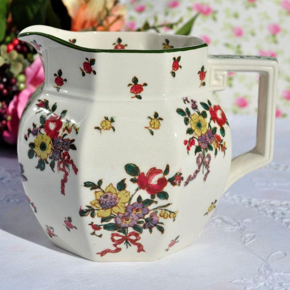 Royal Doulton Old Leeds Sprays Fine Earthernware 2 Pint Pitcher Jug