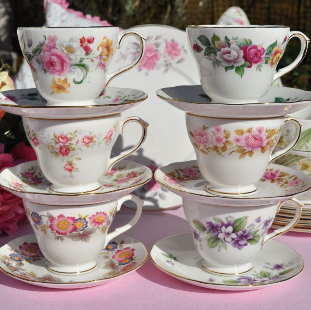 Duchess Floral Patterns Mixed Vintage Tea Set for Six with Cake Plate