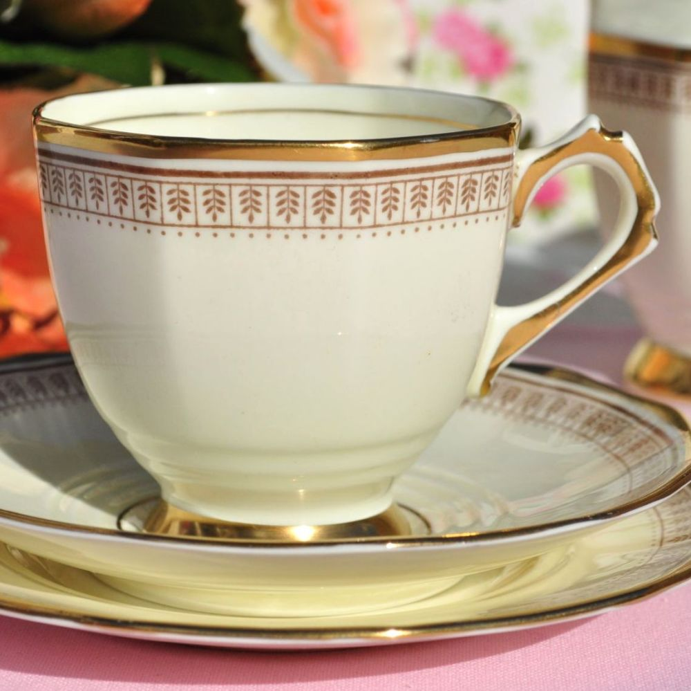 Tuscan Art Deco Cream and Gold Tea Cup Trio c.1933
