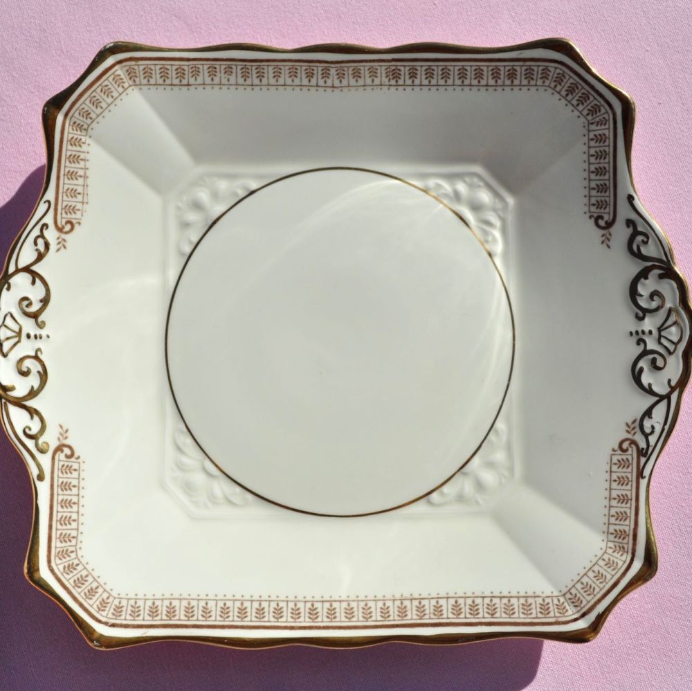 Tuscan Art Deco Cream Fine China Cake Plate with Gold