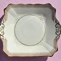 Tuscan Art Deco Cream and Gold Cake Plate c.1930s