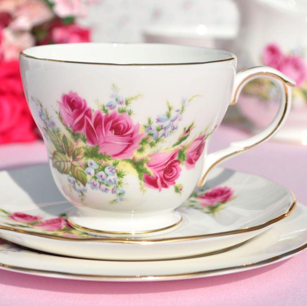 Duchess Velvet Rose Vintage Bone China Teacup, Saucer, Tea Plate Trio
