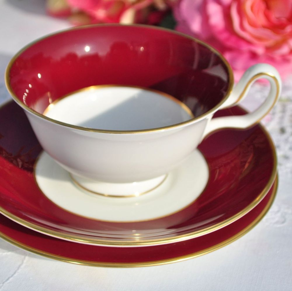 Wedgwood Burgundy Red Vintage Bone China Teacup Trio c.1950s