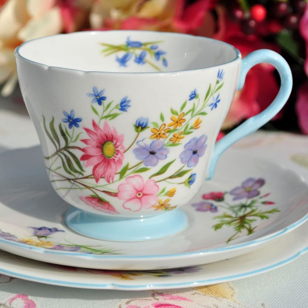 Shelley Wild Flowers Blue Footed Vintage Fine China Tea Cup Trio