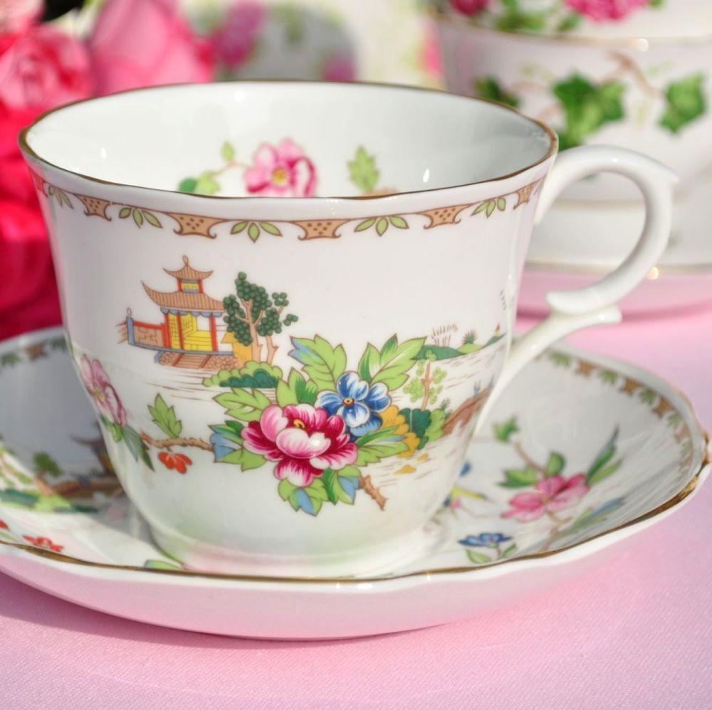 Crown Staffordshire Pagoda Vintage Fine China Breakfast Teacup & Saucer
