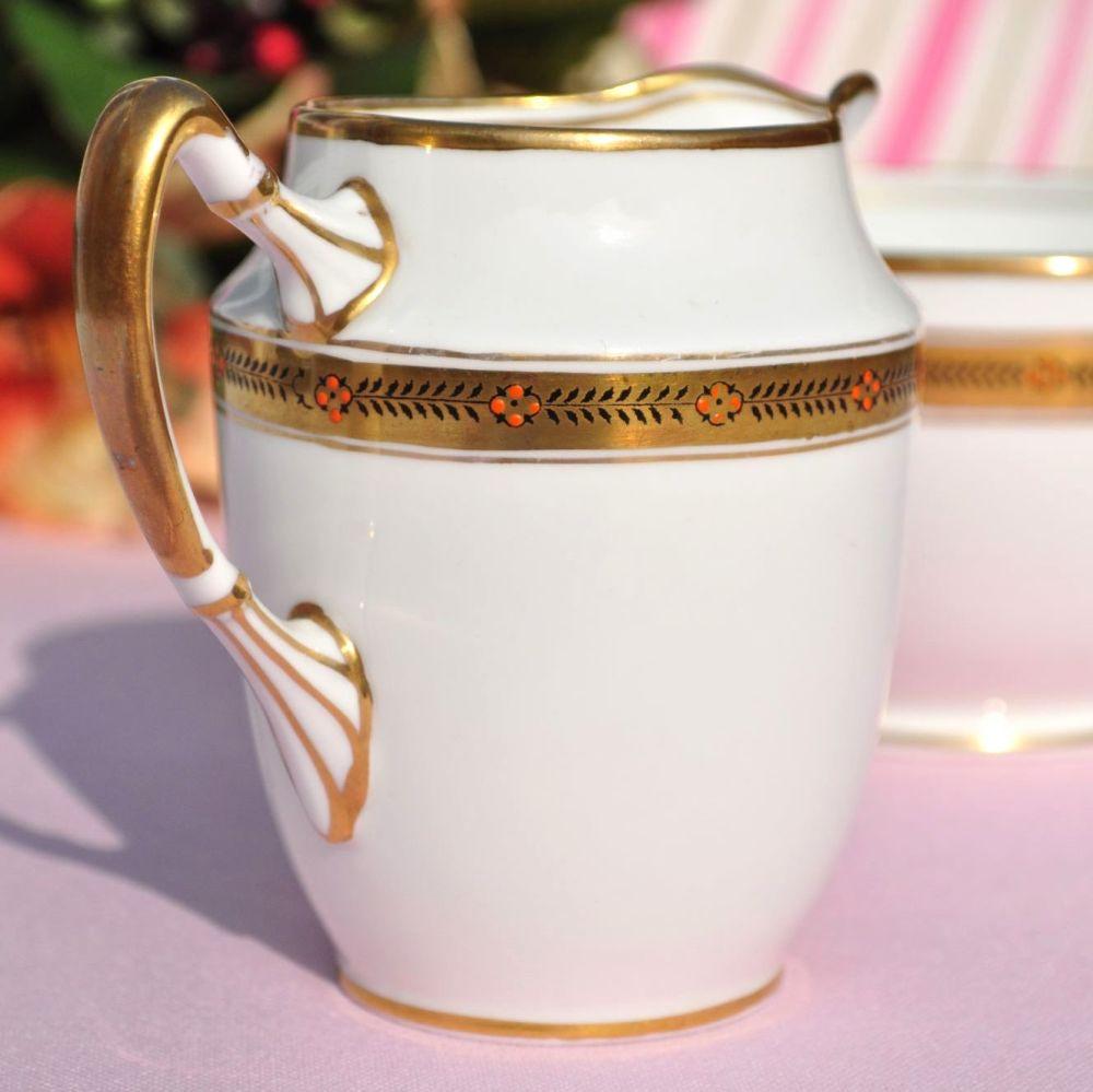 Shore & Coggins Antique Gold Garland Milk Jug & Sugar Bowl c.1911