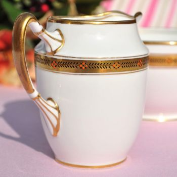 Shore & Coggins Antique Gold Garland Milk Jug & Sugar Bowl c.1911