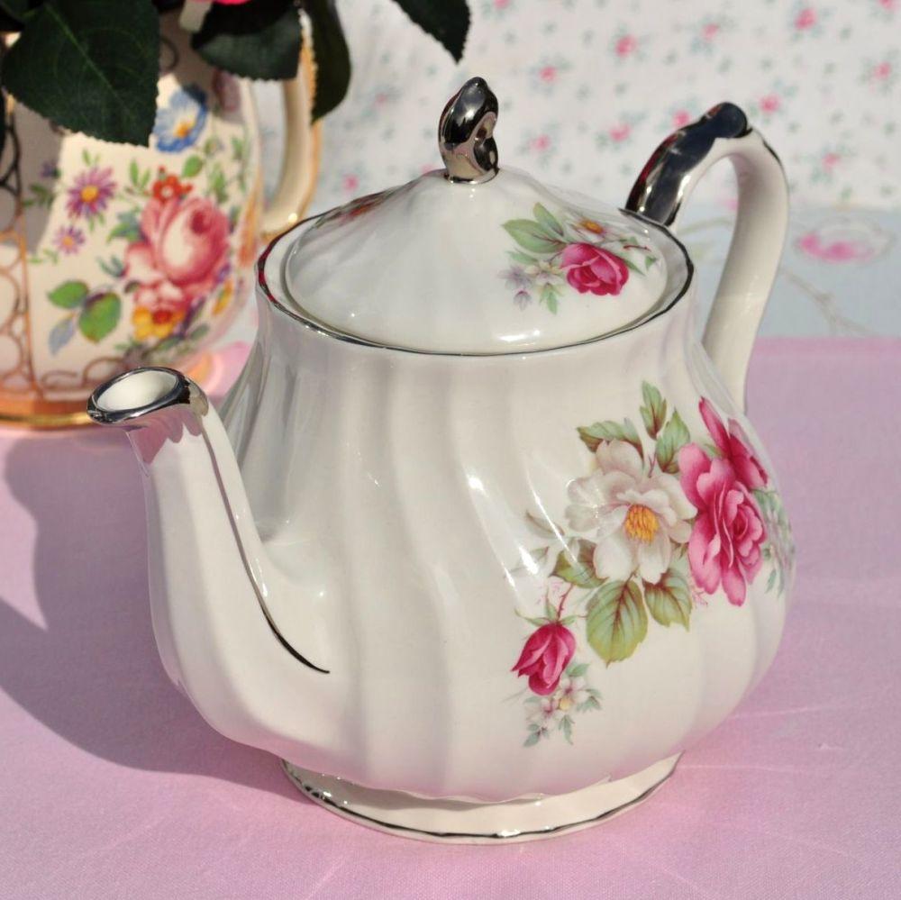Sadler Pink Rose and Platinum 1.5 Pint Vintage Teapot