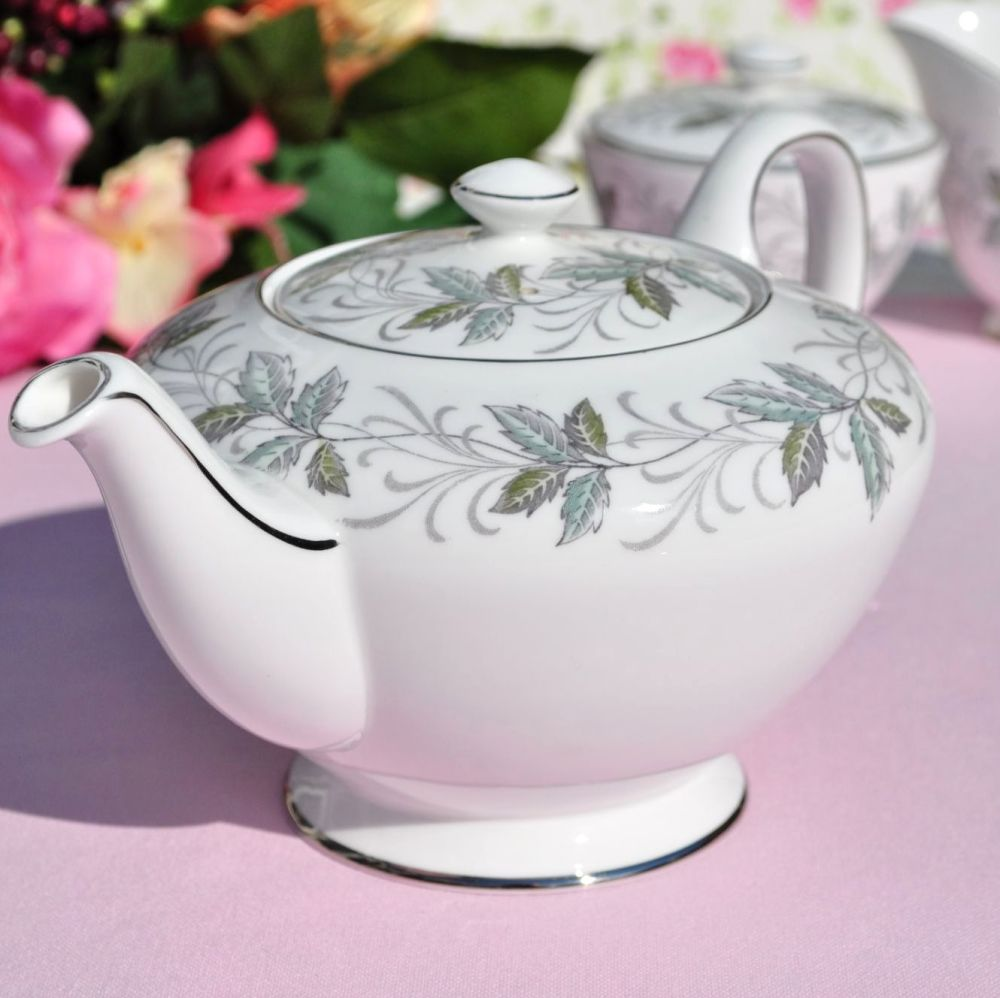 Royal Tuscan Rondeley Platinum Trim Teapot, Milk Jug & Sugar Bowl