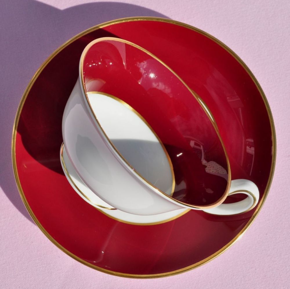 Wedgwood Burgundy Red Vintage Bone China Teacup & Saucer c.1950s