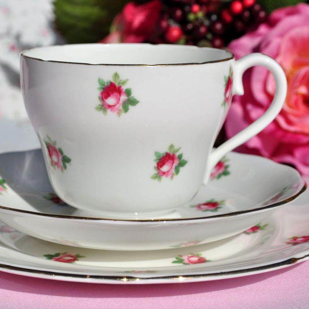 Adderley Little Roses Fine Bone China Vintage Tea Trio