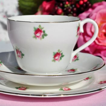 Adderley Little Roses Fine Bone China Vintage Tea Trio
