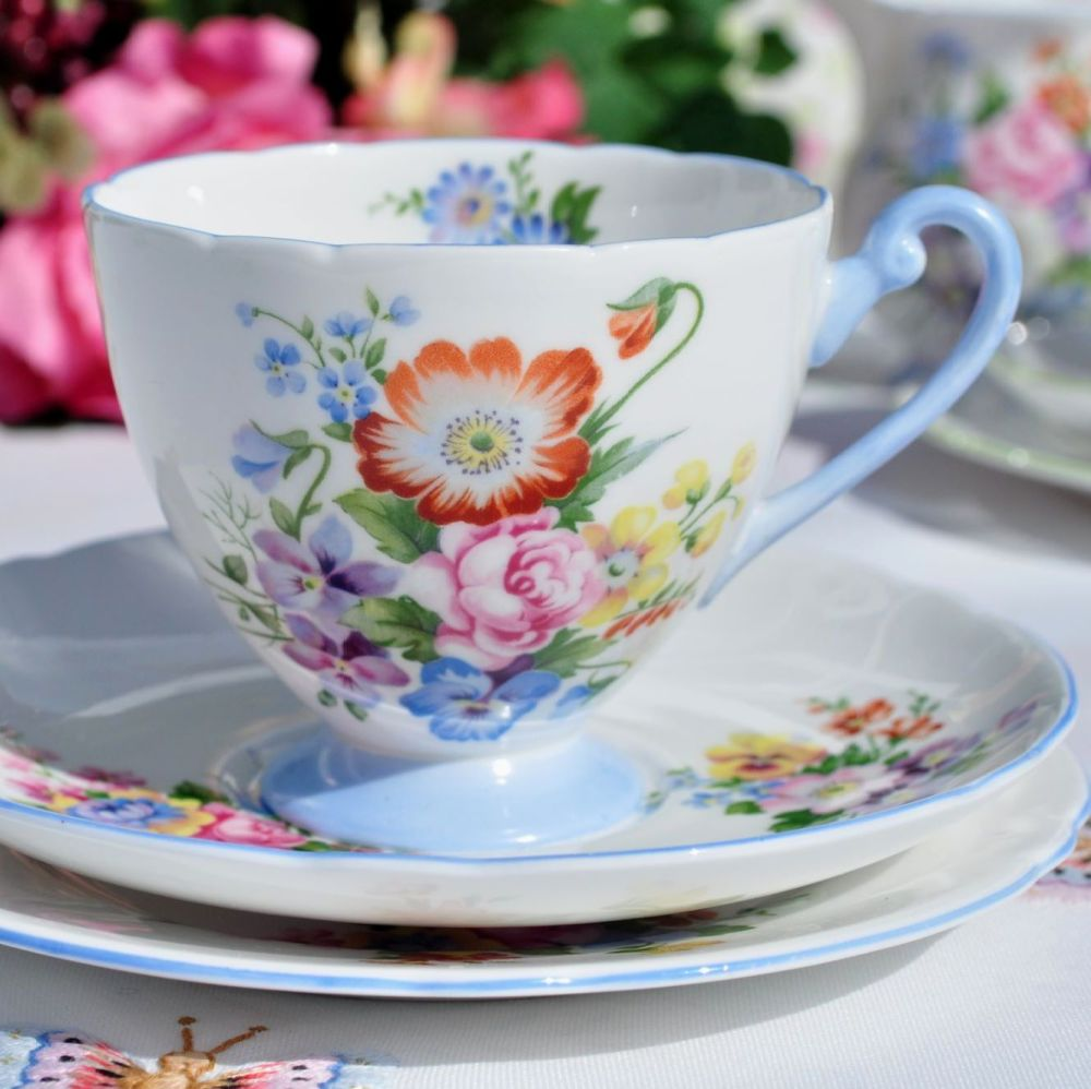 Shelley Summer Bouquet Blue Footed Vintage Fine China Tea Cup Trio