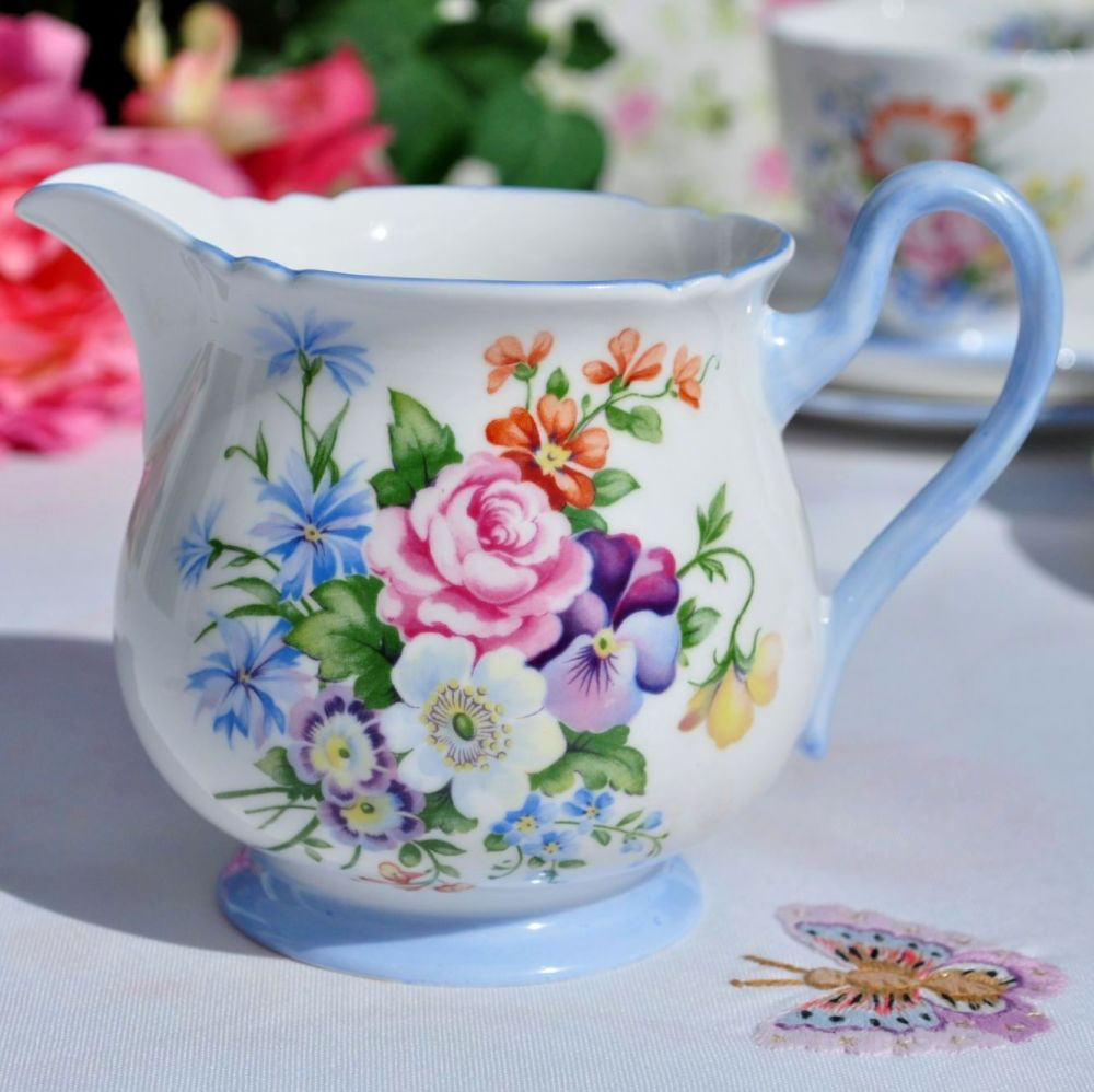 Shelley Summer Bouquet Blue Footed Vintage Fine China Milk Jug