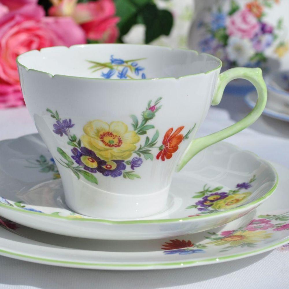 Shelley Green Rim Summer Flowers 2348 Vintage Fine China Teacup Trio