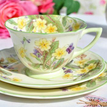 Royal Doulton April Primroses & Violets Vintage Bone China Teacup Trio c.1939
