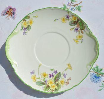 Royal Doulton April Primroses & Violets Vintage Bone China Cake Plate c.1939