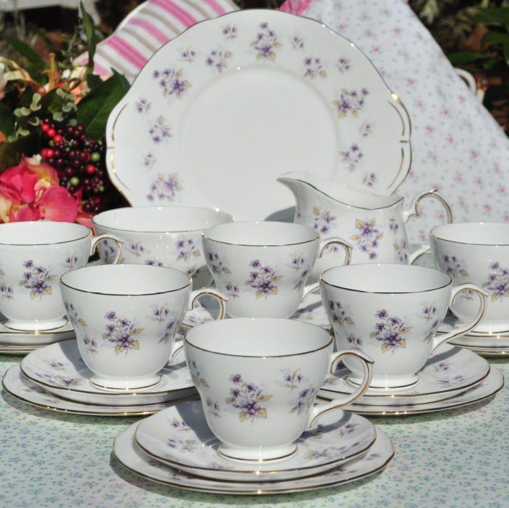 Duchess Violets 21 piece vintage tea set