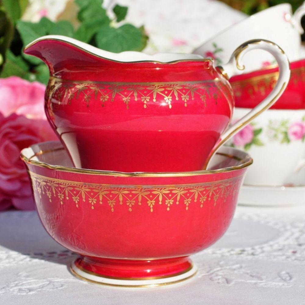 Aynsley Red & Gold Vintage Bone China Milk Jug & Sugar Bowl