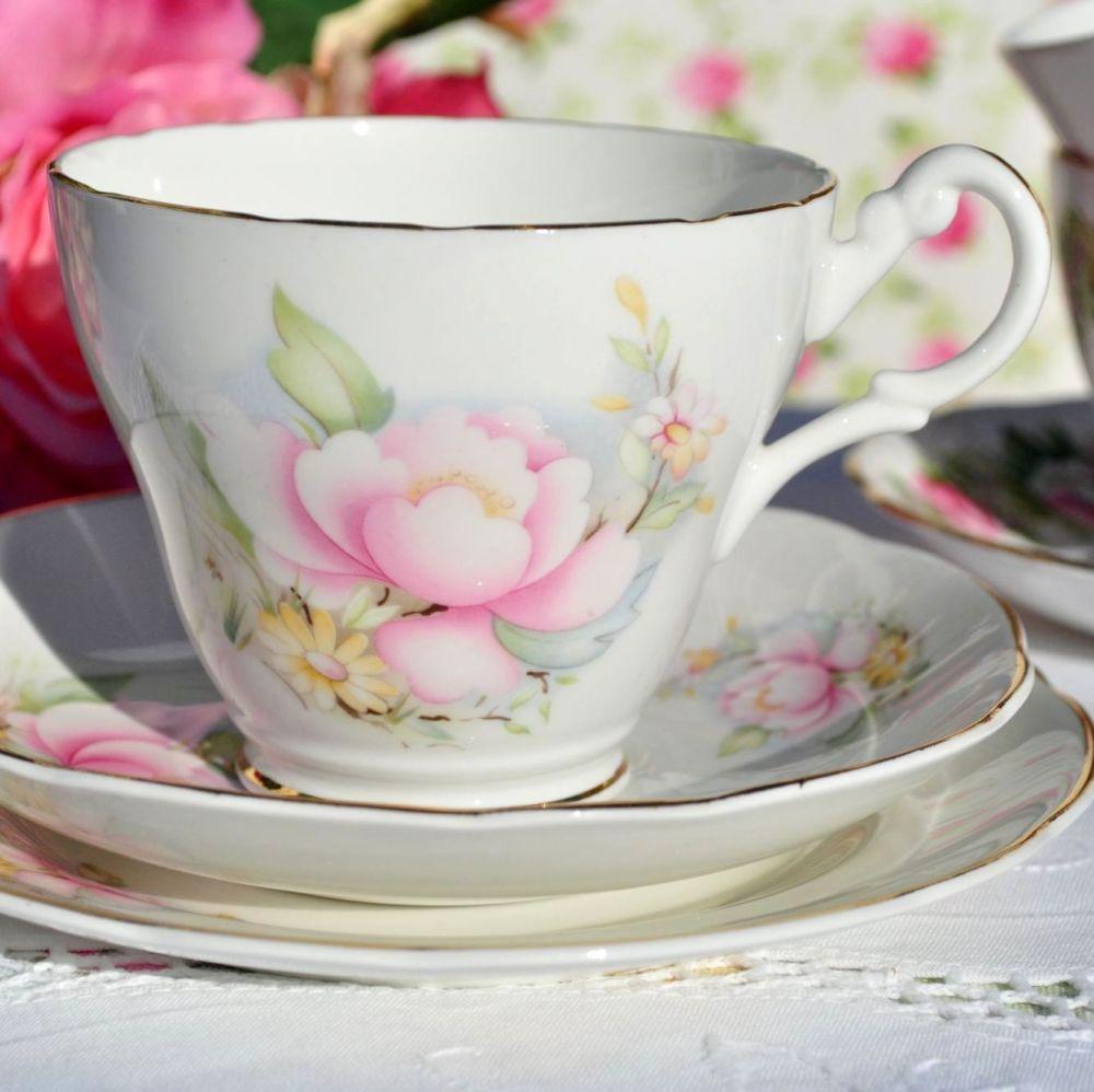 Royal Stuart Pink Magnolia Pattern Bone China Teacup Trio c.1950s