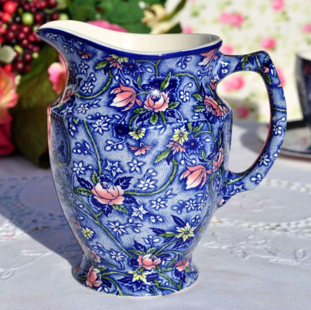 Ringtons Blue Chintz Vintage China Milk Jug by Sadler