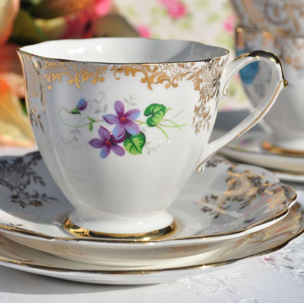 Royal Standard Violets with Gold Filigree Vintage Tea Cup Trio