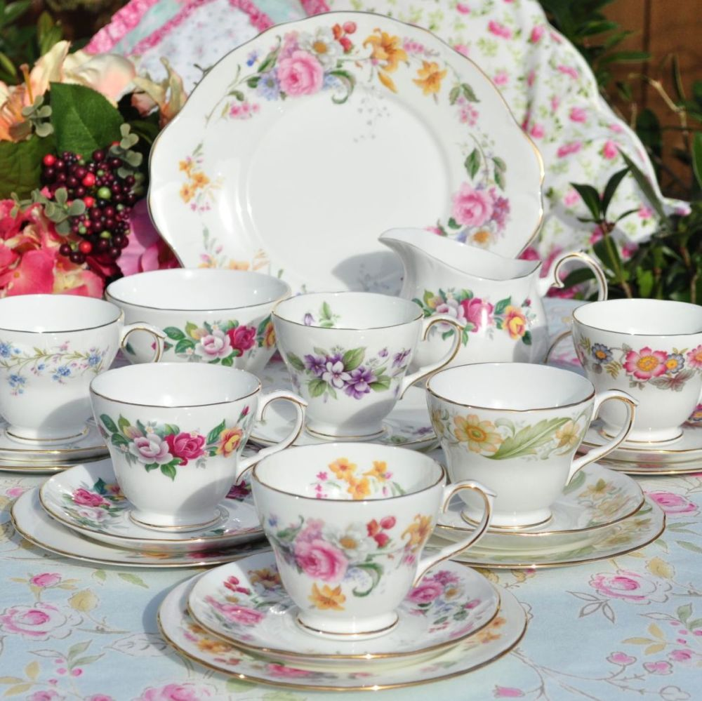 Duchess Vintage Bone China Eclectic Tea Set for Six with Cake Plate