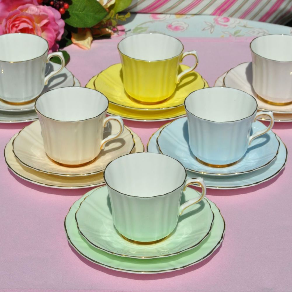 Sampson Smith Harlequin Pastels Teacup Trios x 6 c.1940s